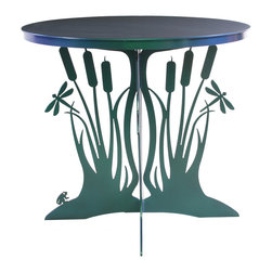 Cricket Forge - Cattail Patio Table - A patio table that draws inspiration from the wetlands, the Cattail Patio Table is a durable and beautiful piece of art that will last generations. Surprising details like the small frog and dragonflies coupled with the unmatched quality of Cricket Forge set this table apart. Airbrushed in Color-Shift Paints, the colors subtlety shift in the light from greens to golds.