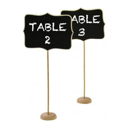 "Dress My Cupcake - Vintage Wooden Chalkboard Table Number Stands - Chalkboards are a stylish and versatile way to add a ""do it yourself"" flair to your weddings, parties or grand events. Our adorably chic stands offer a vintage feel and quaintness to your decor without overpowering the styling of your celebration. These great chalkboard frame table number signs are the perfect accessory to accent your reception tables, candy buffet dessert tables and many more! Their height makes them ideal for labeling contents on an overwhelming display that require standout tagging.    * Set of 4  * Dimensions: H: 13"" L: 6.25""  * Simple assembly required, place stick in base  * Made of natural wood  * Can be effortlessly customized with a simple stroke of chalk and decorated over and over again"