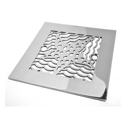 """Designer Drains - Oceanus Star Fish Shower Drain, Brushed Stainless Steel/Nickel - Brushed Stainless Steel drain made to fit Sioux Chief drain roughs.  Measures 1/16"""" thick x 4-1/4"""" square x 2-5/8"""" center to center of the fasteners. Made in U.S.A."""