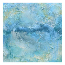 """Transilience #1, Original, Painting - 30"""" x 30"""" eco-friendly heavy textured oil, metallics of silver & sky blue, and mixed-media painting. transilience #1 by michele morata is a one-of-a-kind contemporary original artwork using only organic art mediums healthy for our homes, offices, and earth.  series poetic statement: blue dreams of transilience - peaceful passionate new beginnings  eco-friendly crushed stone from italy & turkey with international recyclable mediums are layered under the oil with crushed silver metal and silver organic earth pigment accents. eco-friendly water-based oil is used with no added chemicals. heat is applied before glazing. painting sides are 1.5"""" canvas with lightly textured turquoise, cream, and white edges; requiring no frame. eco-friendly archival matte pearlescent glaze invented by michele morata forms a light-evoking translucent top coat. michele's original paintings are featured in fine art galleries, private and corporate art collections, as well as movie sets, tv shows/commercials, and book covers. colors: turquoise, sky blue, blue, blue-grey, teal, aqua, grey, taupe (yellow-based), beige, cream, white accents: metallic silvers & sky blue * if an extra-large statement is needed - transilience # 1 and # 2 form an xxl 61"""" w x 30"""" h connection fine art statement (diptych) with a 1"""" or more separation. these (2) paintings also are stackable for an xxl vertical interior design effect of 61"""" h x 30"""" w."""