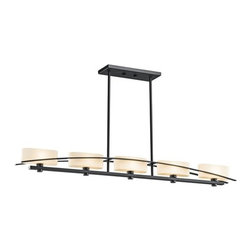 "Kichler - Kichler 42018BK Black (Painted) Suspension Suspension Single-Tier - Product Features:Fully covered under Kichler s 1-year limited warrantyFixture housing is constructed of steel - ensuring years of reliable performanceFeatures a rectangle shaped glass shadeFixture sends illumination in a downward directionLinear single-tier fixture design adds elegance to any roomStandard mounting rod included with fixture - optional extension rods will be offered upon checkoutBulbs are not included with this model - Upon checkout bulbs will be offeredUltra secure mounting assemblyProduct Specifications:Height: 4.5"" (measured from top to bottom of fixture, excludes chain length)Width: 4.2"" (measured from left most to right most point on fixture)Number of Bulbs: 5Bulb Type: IncandescentWattage Per Bulb: 60Location Rating: Dry / InsideBulb Base and Compatibility:Bulb Base - Candelabra (E12): The E12 (Edison 12mm), Candelabra Edison Screw (CES), ""Candelabra"" is a term for the small-based incandescent light bulbs used in luminaires made for lighting and decoration.Compatible Bulb Types: Nearly all bulb types can be found for the E12 Candelabra Base, options include Incandescent, Fluorescent, LED, Halogen, and Xenon / Krypton.About Kichler:Kichler has been an industry leader in the lighting industry for nearly a century. They believe that products you choose for your home should not only exceed functionality, but transform your spaces into truly inspired settings. Each product and style by Kichler is developed with award winning craftsmanship and unmatched quality. And with a wide variety of lighting fixtures and ceiling fans, KichlerÂ's collections deliver distinctive beauty throughout the entire home."