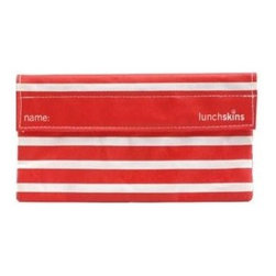 Lunchskins Snack Bag - Red Stripe - Stop throwing away plastic snack bags! An exhaustive design process has finally produced a reusable, machine washable, fun, and safe alternative: the LunchSkin. Each beautiful Red Stripe style LunchSkin has a Velcro seal and is manufactured right here in the USA from the same certified food-safe, durable fabric used in European patisseries and bakeries. Reduce lunchtime waste with the LunchSkin!