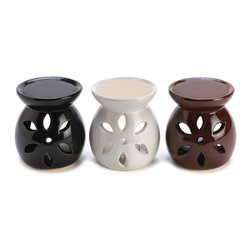 """Koehler Home Decor - Koehler Home Decor Mini Oil Warmer Trio - Attractive ceramic decorative oil warmers beautify most any decor, brightening the room with twinkling light and a subtle hint of fragrance. Weight 1 lb. Tealight candle and oil not included. Ceramic. Each is 2.75"""" diameter x 3"""" high. Set includes one each in white, black and brown glazes.Weight 1 lb. Material: Ceramic."""