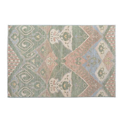 1800-Get-A-Rug - Ikat Design Hand Knotted Rug Light Green Sh11781 - About Wool Pile