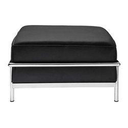 Modway - LC3 Ottoman in Black - Urban life has always a quandary for designers. While the torrent of external stimuli surrounds, the designer is vested with the task of introducing calm to the scene. From out of the surging wave of progress, the most talented can fashion a forcefield of tranquility.