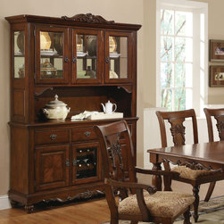 Coaster - Addison Cherry Buffet and Hutch - This traditionally styled china cabinet will be a beautiful accent to the classic decor of your dining room. Carved out of birch veneers,the buffet and hutch is ornamented with scroll and floral designs and a mirrored back.