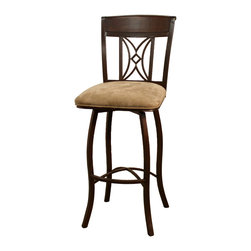 American Heritage - American Heritage Artista Stool in Umber with Basil Fabric - 34 Inch - A perfect choice for your new space. The hand painted frame and wood back accent makes this stool a timeless classic. Ease in and out of this stool with the help of the full swivel.