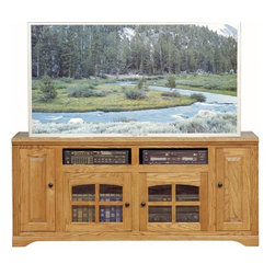 Eagle Furniture Manufacturers - Oak Ridge Entertainment Console w 4 Doors (Light Oak) - Finish: Light Oak. Two arched glass panel doors. Two raised panel doors. Two fixed wood shelves. Designed with decorative molding and fluted detailing. Warranty: Eagle's products are guaranteed against material defects for one year from date of delivery to the dealer. Made in USA. No assembly required. 66 in. W x 22 in. D x 29.25 in. H (128 lbs.)The Oak Ridge collection combines American oak hardwood with updated contemporary styling. Heavy crown molding, sleek lines, fluted side molding, black brushed metal hardware, solid oak frames and solid oak recessed doors give this transitional collection a style all its own