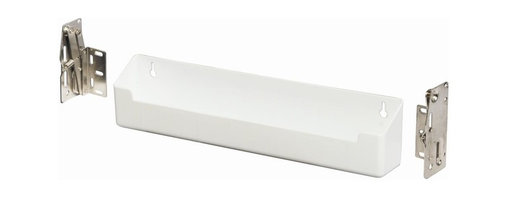 KV Kitchen & Bath Storage - Real Solutions 14 in. Sink Front Tray Kit - Includes trays, hinges and screws. Deep tray ideal for solid surface countertops with large deep sink applications. Limited warranty. Made from plastic. White color. Assembly required. 14 in. W x 2 in. D x 3 in. H (0.9 lbs.). Required minimum cabinet opening:. Scissor hinges - 15.5 in. W x 3.5 in. H. Euro hinge - 18.25 in. W x 2.125 in. D