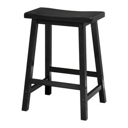"Winsome Wood - Winsome Wood 20084 Saddle Seat 24 Inch Black Stool Single in Black - Contemporary Saddle seat 24"" wood counter height stools in natural wood finish. Solid wood construction of natural hardwood. Ships ready to assemble with all hardware and tools included. This new style seat is comfortable and sleek."