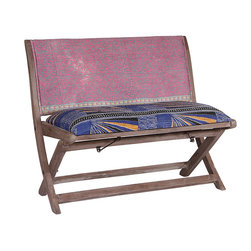 Modelli Creations - Purple One-of-a-Kind Kantha Bench - Infuse your décor with a splash of color and unique design with this bench that's crafted from natural sheesham wood and upholstered in a vibrant cotton fabric. Featuring a practical folding design, it's easily mobile and superbly comfortable.   Weight capacity: 300 lbs. 37'' W x 31'' H x 19'' D Seat: 18'' H Sheesham wood / cotton No assembly required Imported