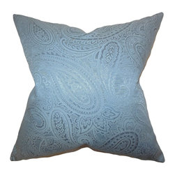 """The Pillow Collection - Cashel Paisley Pillow Blue 18"""" x 18"""" - This lovely throw pillow creates a relaxing vibe to your living space. Decorated with a paisley pattern set against a blue background, this 18"""" pillow is perfect for any indoor setting. Toss this square pillow with solids and other patterns for a completely unique interior look. Made with a blend of 65% cotton and 35% polyester material."""