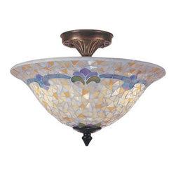 "Dale Tiffany - Dale Tiffany TM100553 14"" x 10.5"" Johana Mosaic Flush Mount from the Mosaic Coll - 14"" x 10.5"" Johana Mosaic Flush Mount from the Mosaic CollectionFeatures:"