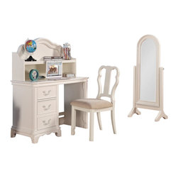 "Acme - Ira Collection White Finish Wood Children's Desk Hutch and Chair - Ira Collection White Finish Wood Children's Desk Hutch and Chair. Desk features 3 drawers, hutch with shelf and a padded chair. Desk measures 44"" x 22"" x 30""H. Hutch measures 41"" x 8"" x 22""H. Chair measures 38""H to the back. Some assembly required."