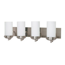 "Nuvo Lighting - Nuvo Lighting 60/497 Four Light Reversible Lighting 29.75"" Wide Bathroom Fixture - *Four light reversible lighting bathroom fixture featuring opal white glass shades"