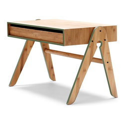 We Do Wood - We Do Wood Geo's Table, Green - Geo's Table is a functional children's table with a large pull-out drawer, which can be used to stash paper, crayons and other favorite toys from both sides of the table. Combined with Lilly's Chair you will have children's furniture that will last through generations. Geo Table is designed to be assembled easily at home.