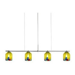 """Oggetti Luce - Bimbi Palio Linear Suspension by Oggetti Luce - The Oggetti Luce Bimbi Palio Linear Suspension is colorful and fun, combining traditional Venetian glass blowing techniques with contemporary flair for a great look in the dining room or kitchen. Mouth-blown glass shades guarantee a hands-on, artisan appearance for cool, functional art lighting. Made in Venice, Italy. Comprised of several lighting collections primarily from Italy, Oggetti Luce markets exclusive, one-of-a-kind glass, bone and resin pieces that have been individually hand-formed and mouth-blown by skilled artisans. Each Oggetti Luce fixture reflects the quality and craftsmanship of centuries-old glass blowing or mosaic tradition, and most pieces are signed by the artist.The Oggetti Luce Bimbi Palio Linear Suspension is available with the following: Details:Mouth-blown Palio glass shadesSatin Nickel finishRectangular ceiling canopy120"""" adjustable cable UL ListedMade in Venice, ItalyOptions:Number of Lights: 3 Light, or 4 Light.Please Note: Oggetti Luce shades are all handmade. There will always be variations, sometimes in size and often in color. This is typical of a handmade product and contributes to its beauty.Lighting:3 Light option utilizes three 60 Watt 110 Volt G9 Base Halogen lamps (included). 4 Light option utilizes four 60 Watt 110 Volt G9 Base Halogen lamps (included).Shipping:This item usually ships within 3-5 business days."""