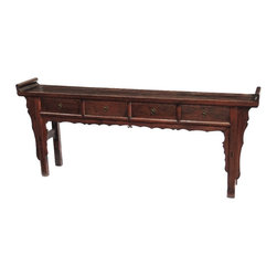 Consigned- Antique Large Walnut Console Table With Drawers And Carved Detail - Antique, large console altar table with drawers. Solid walnut wood, one of a kind.
