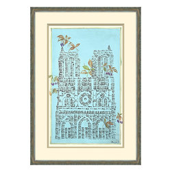 Soicher-Marin - Parisian Monument B - Giclee print with an ornate traditional distressed silver wood moulding with a bottom tan mat and an off white top mat.  Includes glass, eyes and wire. Made in the USA. Wipe down with damp cloth