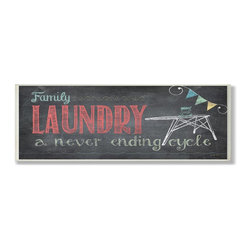 Stupell Industries - Family Laundry Never Ending Chalkboard Look Bath Plaque - Made in USA. Ready for Hanging. Hand Finished and Original Artwork. No Assembly Required. 17 in L x 0.5 in W x 17 in H (4 lbs.)Whether you love the romance of Paris, the buzzing nightlife of New York City, or Chicago's deep dish pizza, celebrate your favorite city with a distressed hand-finished wall plaque. Featuring trendy typography-styled letters in a monochromatic color scheme, these plaques will add edgy appeal to any room of your house. Each plaque is constructed of sturdy medium-density fiberboard with coved and painted borders and a sawtooth hanger for simple installation.