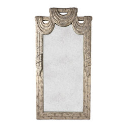 Kathy Kuo Home - Garnier French Country Draped Curtain Theatrical Antique Mirror - This luxe vintage mirror, with its antiqued theatre curtain carvings, will instantly transport you back to glamorous Parisian nights at the opera. Its tall, slender shape gives it even more dramatic flair, such that you may be tempted to belt out an aria every time you walk past and catch a glimpse.  Perfect for a French country or Hollywood regency style home.