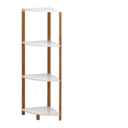 Gifts Galore - White Bamboo Corner Shelf - Organize and display your pretty keepsakes with this sleek and stylish corner shelf unit.  The bamboo frame with four triangular shelves make a true statement of your impeccable style while not taking up a lot of space.  Some assembly required.