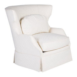 Hickory White Wing Back Chair in White - Dimensions 34.0ʺW × 30.0ʺD × 37.0ʺH