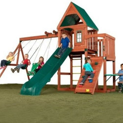 Swing-N-Slide Willows Peak Wood Play Set - Make your backyard the envy of the neighborhood with the Swing-N-Slide Willows Peak Wood Play Set. Kids will love the combination of play options such as the 3-piece slide, swings, glider, climbing wall, and playhouse. Quality wood construction with hardware and included instructions makes assembly simple. Other features include ladder, bench, and table. Durable and designed for years of hard play. For private backyard use only. Do not use in public settings.About Swing-N-SlideFounded in 1985, Swing-N-Slide was America's first manufacturer of do-it-yourself wooden playground products. This remarkable company designs, manufactures, and distributes residential and commercial play sets across the nation. Committed to safety and driven by a desire to provide compliant, fun, and value-packed products, Swing-N-Slide backs every play set with quality and pride. They offer unparalleled value and the unique opportunity to tailor playground products to your specific needs and budget.