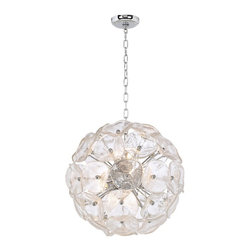 "ET2 - Crystal Blossom Twelve Light  Pendant Chandelier - This pendant chandelier has beautiful crystal glass and twelve dazzling lights. Features a ball of flower-shaped glass and lights inside. Goes great with any contemporary-style decor. Includes twelve 35 watt halogen bulbs. 20"" diameter.  Chrome frame.  Crystal glass.  Includes twelve 35 watt halogen bulbs.   Adjusts to 40"" high.   20"" diameter."