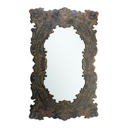 Cyan Design - Cyan Design Laurent Wall Mirror - Printed Embellishment MirrorMirror, mirror on the wall... This elegantly framed piece brings to mind fairytale styles for the evil queen's all-seeing sidekick, but with a quirky contemporary touch of a printed instead of carved design. It's unique and whimsical, for a one-of-a-kind touch behind your vanity or in the hall. Show off your own eclectic sense of style with this home decor accessory - besides, your decor is the fairest of them all, right?Frame crafted from real woodFinished with a rustic black and burnished tone of printed designMounting hardware included
