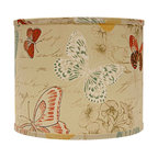 "Lamps Plus - Themed Colored Butterflies Drum Lamp Shade 16x16x13 (Spider) - This drum lamp shade features cotton fabric with a colorful butterfly design and a chrome spider fitter for a dash of brilliance. A pleasing accent shade to spruce up a floor or table lamp. The correct size harp is included free with this purchase. Drum lamp shade. Cotton exterior. Colored butterfly design. Spider fitter.  Unlined. Correct size harp included. 14"" across the top. 16"" across the bottom. 13"" high.  Drum lamp shade.  Cotton exterior.  Colored butterfly design.  Spider fitter.  Unlined.  Correct size harp included.  16"" across the top.  16"" across the bottom.  13"" high."