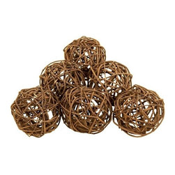 BZBZ37215 - Set of 6 Round Natural Decorative Bamboo Wood Balls - Set of 6 Round Natural Decorative Bamboo Wood Balls. Assortment of 6 ball made from natural wooven bamboo. each ball is 4 inch in diameter.