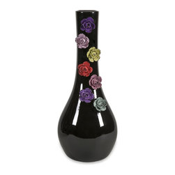iMax - iMax Ava Large Dimensional Flower Vase X-15578 - The ornate flowers in this traditional Ava large vase adds a pop of color as well as botanical whimsy.