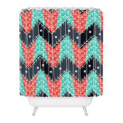 DENY Designs - DENY Designs Sam Osborne Christmas Trees Shower Curtain - Who says bathrooms can't be fun? To get the most bang for your buck, start with an artistic, inventive shower curtain. We've got endless options that will really make your bathroom pop. Heck, your guests may start spending a little extra time in there because of it!