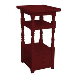 EuroLux Home - New Nightstand Red Painted Hardwood Cottage - Product Details