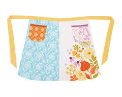 Kate Spain Central Park Half Apron - This vintage chic half apron, featuring two pockets with contrasting floral designs and ties, makes for a beautifully unique apron or valance for country chic kitchen windows.