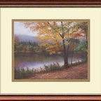 """Amanti Art - """"Golden Autumn"""" Framed Print by Diane Romanello - A snap in the air leaves crunching under your feet, a solitary walk in a picturesque setting ... that's what you'll experience when you gaze at this framed print rendition of a true artist's painting. The polished cherrywood frame adds dimension and depth, making the whole scene seem like a stone's throw away."""