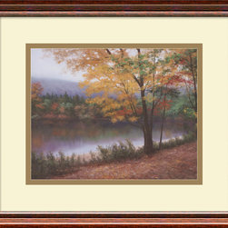 "Amanti Art - ""Golden Autumn"" Framed Print by Diane Romanello - A snap in the air leaves crunching under your feet, a solitary walk in a picturesque setting ... that's what you'll experience when you gaze at this framed print rendition of a true artist's painting. The polished cherrywood frame adds dimension and depth, making the whole scene seem like a stone's throw away."