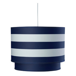 Oilo - Stripe Double Cylinder, Cobalt Blue - This double drum shade takes the classic lighting piece to a new level. The solid interior shade adds subtle visual interest to the exterior wide stripes. A white acrylic sheet ensures a soft glow will illuminate whatever room you place this in, and the 55-inch cord allows you flexibility to adjust its height.