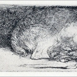 """Rembrandt Van Rijn The Little Dog Sleeping - 14"""" x 28"""" Premium Archival Print - 14"""" x 28"""" Rembrandt Van Rijn The Little Dog Sleeping premium archival print reproduced to meet museum quality standards. Our museum quality archival prints are produced using high-precision print technology for a more accurate reproduction printed on high quality, heavyweight matte presentation paper with fade-resistant, archival inks. Our progressive business model allows us to offer works of art to you at the best wholesale pricing, significantly less than art gallery prices, affordable to all. This line of artwork is produced with extra white border space (if you choose to have it framed, for your framer to work with to frame properly or utilize a larger mat and/or frame).  We present a comprehensive collection of exceptional art reproductions byRembrandt Van Rijn."""