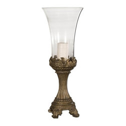 Uttermost - Uttermost Rococo Hurricane Candleholder - Gray patina with golden highlights and clear glass globe. Beige candle included.