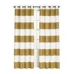 Alston Ivory/Gold 50x84 Curtain Panel - Striped curtains — gold striped curtains? Count me in, please.