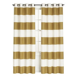 Alston Ivory/Gold 50x84 Curtain Panel - Striped curtains — gold striped curtains? Count me in, please.