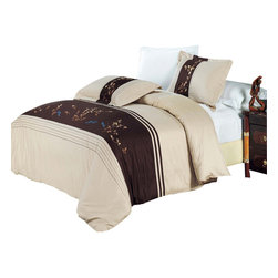 Bed Linens - Celeste Egyptian cotton Embroidered Duvet Cover Set Full-Queen - You are invited to experience the comfort, luxury and softness of our luxurious Embroidered duvet covers. Silky Soft made from 100% Egyptian cotton with 300 Thread count woven with superior single ply yarn. Quality linens like this one are available only at selected Five Stars Hotels.
