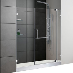 Vigo - 60in.  Frameless Shower Door 3/8in.  Clear Glass Chrome Hardware with White Base - Experience fine quality combined with superior design in a VIGO frameless shower door with matching 60in.  x 30in.  shower base.