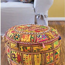 None - Traditional Indian Pouf (Set of 2) - Handcrafted from exotic beads and stones,this authentic Indian pouf is great as a floor pillow,ottoman,or simply for use as an accent piece. Each set of two cotton Indian poufs are hand-made in India and are yellow with multicolor designs.