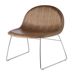 Gubi - Gubi 4 Wood Chair, Walnut/Chrome Frame - The Gubi 4 is lounge chair with a wooden shell made of moulded 3-D veneer in oak, black stained beech or American walnut. It is part of the Gubi Chair collection. The Gubi Chair, designed by Komplot Design, was the first furniture design to be based on the innovative technique of moulding three-dimensional veneer. The 3D design gives the chair comfort and a sense of lightness - with all edges pointing away from the user. The thickness of the veneer is reduced to half of that normally used due to the very strong 3D design. The Gubi Chair is included in the Museum of Modern Art's permanent collection.