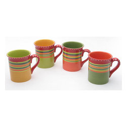 Certified International - Certified International Hot Tamale Mugs (Set of 4) - The bright multicolor stripe pattern evokes a sense of southwestern styling in this earthenware coffee mug set of four. The Certified International Hot Tamale set was designed by Nancy Green and each mug holds eighteen-ounces and is dishwasher safe.