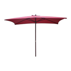 International Concepts - Rectangular Market Umbrella - 6 Wooden ribs. Brass plated connector. Resin hub and runner. Resin finial. Single pulley system. 2 Section 38 mm. pole. 180G Polyester fabric. 78.75 in. L x 94.5 in. W x 118 in. H (17.6 lbs.)