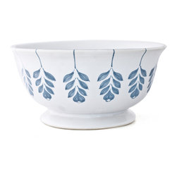 Amoretti Brothers - Amoretti Brothers Twigs Cereal Bowl, Set of 4 - Wouldn't your morning cereal taste better in a hand-crafted dish? Sold in sets of four, these footed ceramic bowls are individually glazed and adorned with a band of cascading fronds. They're safe for use in the oven or microwave, and clean up easily in the dishwasher.